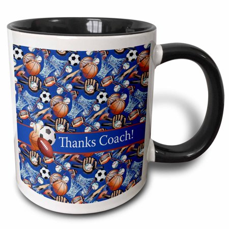 3dRose Thank you Coach, Baseballs, Footballs, Soccer, Gloves, Basketballs - Two Tone Black Mug, 11-ounce ()