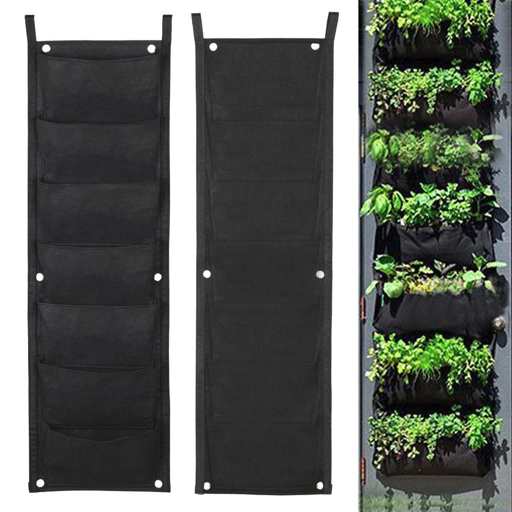 Topeakmart 7 Pocket Garden Vertical Planter Wall Mount Living Growing Bag  Felt In/Outdoor