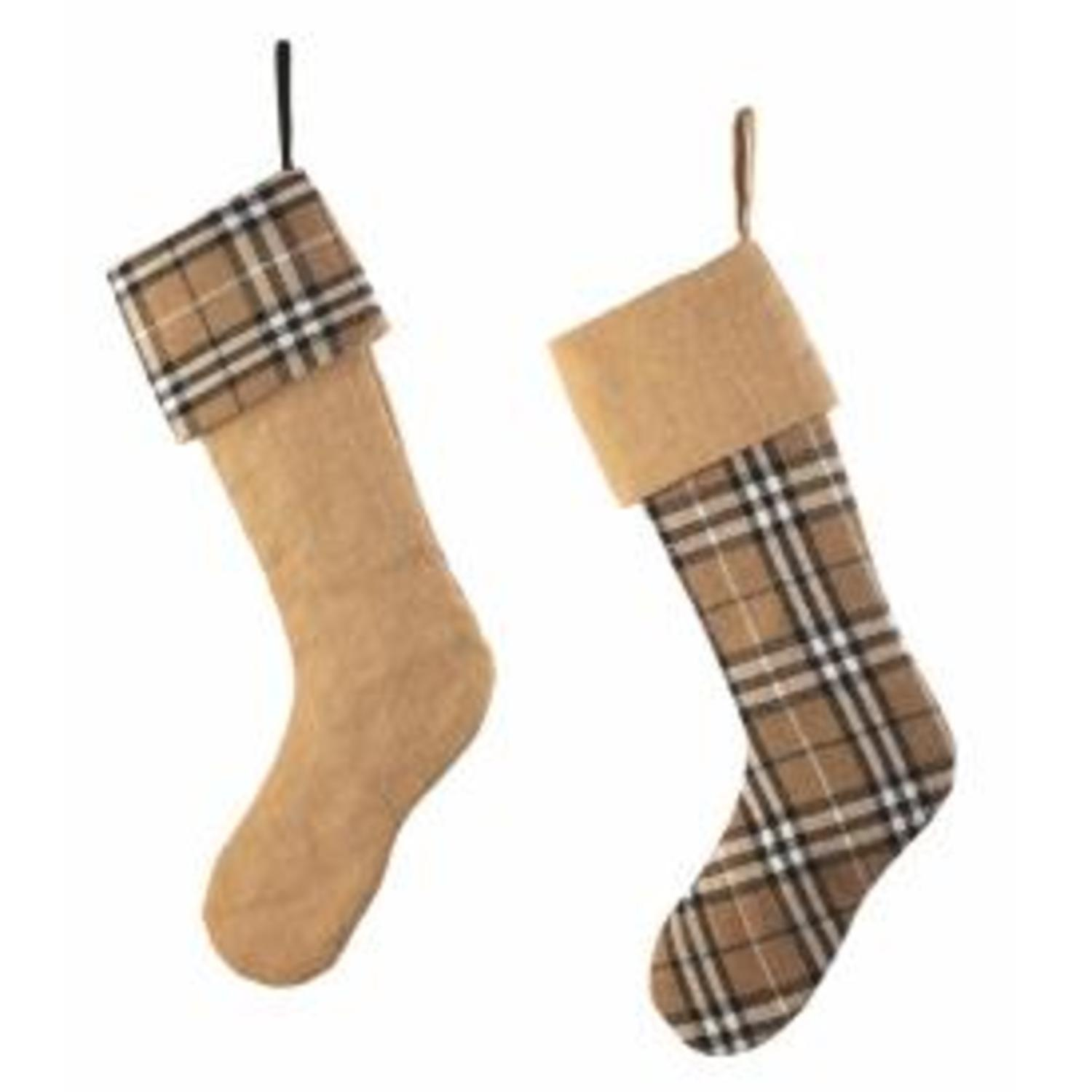 Set of 2 Country Cabin Tan and Black Plaid and Burlap Christmas Stockings 20.5