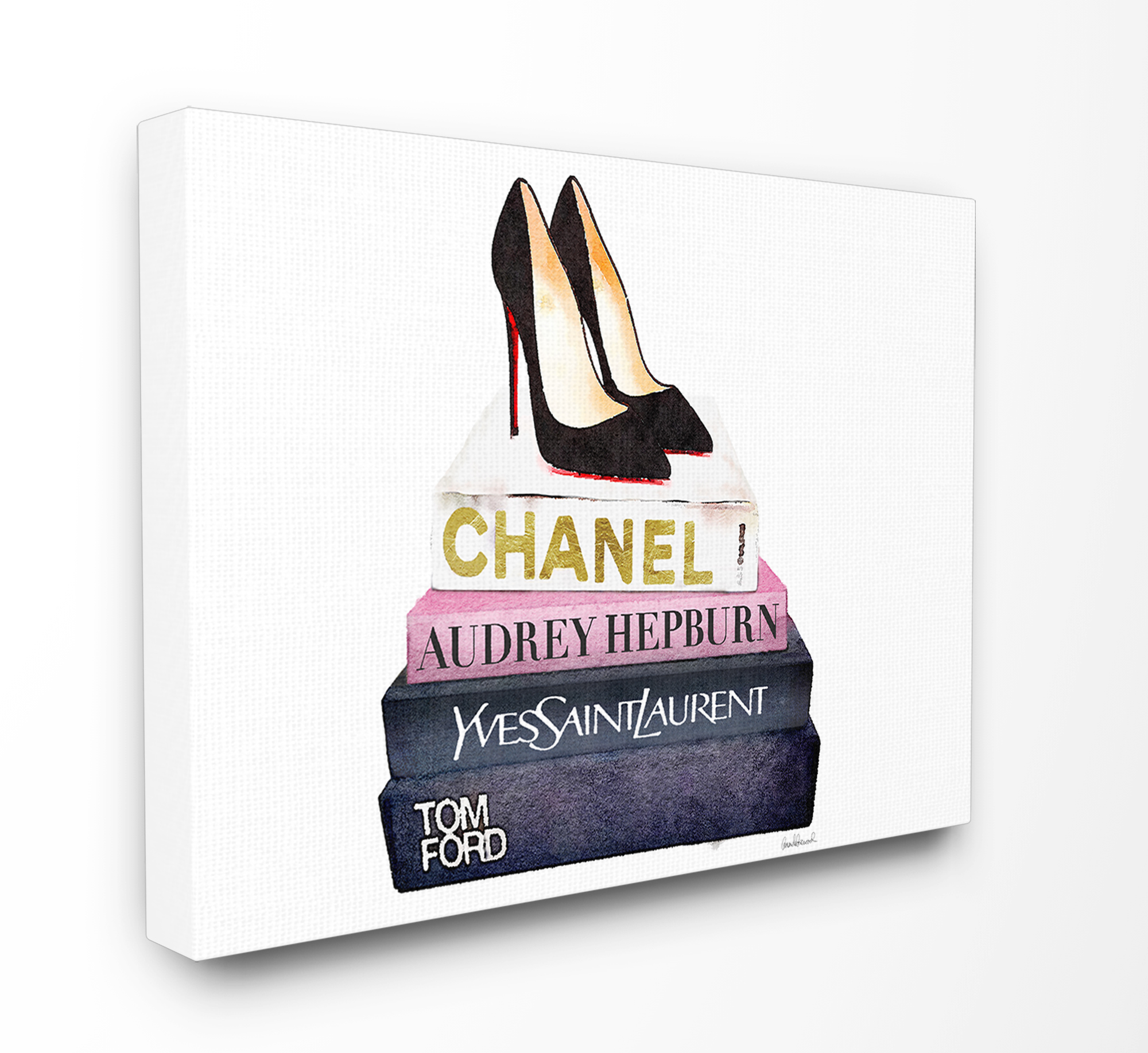 The Stupell Home Decor Collection Glam Fashion Book Set Black Pump Heels Oversized Stretched Canvas Wall Art