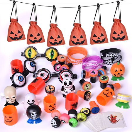 Halloween Party Supplies Toy Assortment Goody Bags for Kids' trick-or-treat Party Favor, Halloween Gifts 72Pcs F-188 (Welcome To Our Halloween Party)