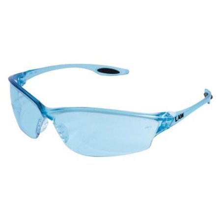 Crews LW213 Law 2 Safety Glasses With Light Blue Nylon Frame, Light Blue Polycarbonate Duramass Anti-Scratch Lens And TPR Nose Pad And Black Temple Sleeve (1/EA) ()
