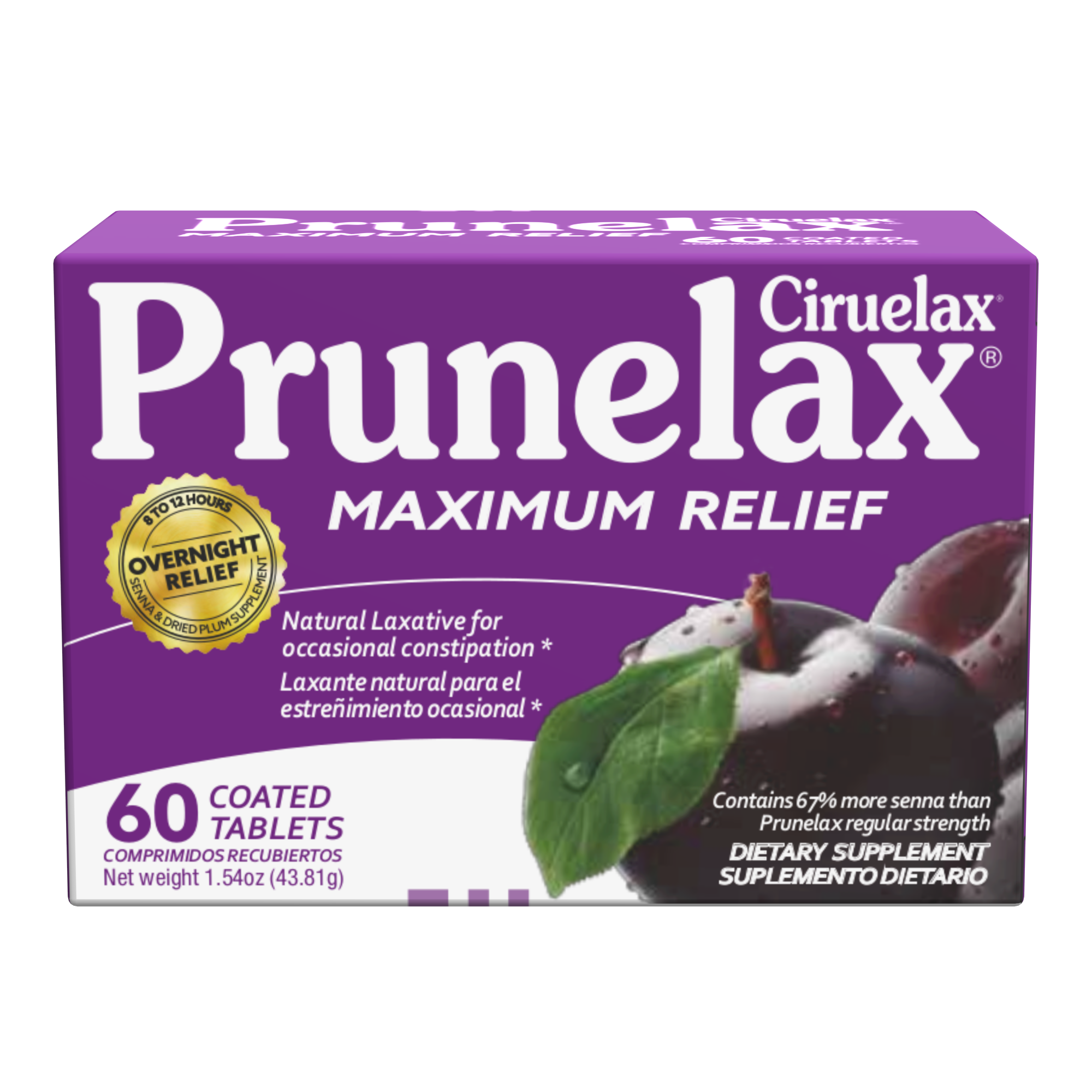 Prunelax Extra Strength Tablets, Natural Laxative For Occasional Constipation, 60 Ct.