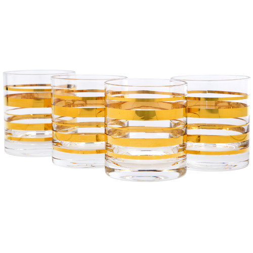 Home Essentials and Beyond Posh Gold Bangle Double 10 oz. Old Fashioned Glass (Set of 4)