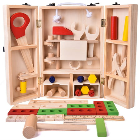 - Kids Tool Box 43 Piece Wooden Toys Set, Kids Tool Kits, Boy Gift Learning Toy Construction Set Pretend Playset Gift for Kids