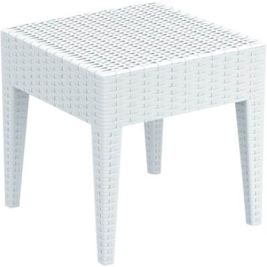 Miami Square Resin Wickerlook Side Table White
