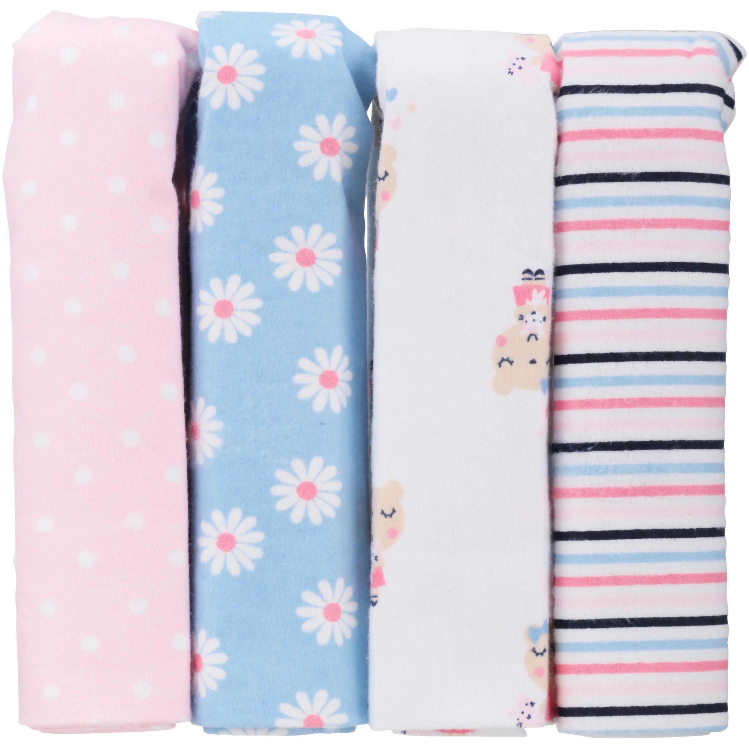 Gerber Newborn Baby Girl Assorted Flannel Receiving Blanket, 4-Pack