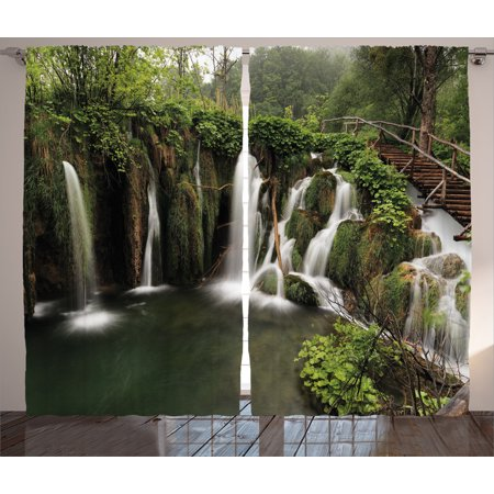 Waterfall Decor Curtains 2 Panels Set  Circled Waterfalls in Crotia with a  Rustic Wood CuteWaterfall Decor Curtains 2 Panels Set  Circled Waterfalls in  . Living Room Waterfall. Home Design Ideas