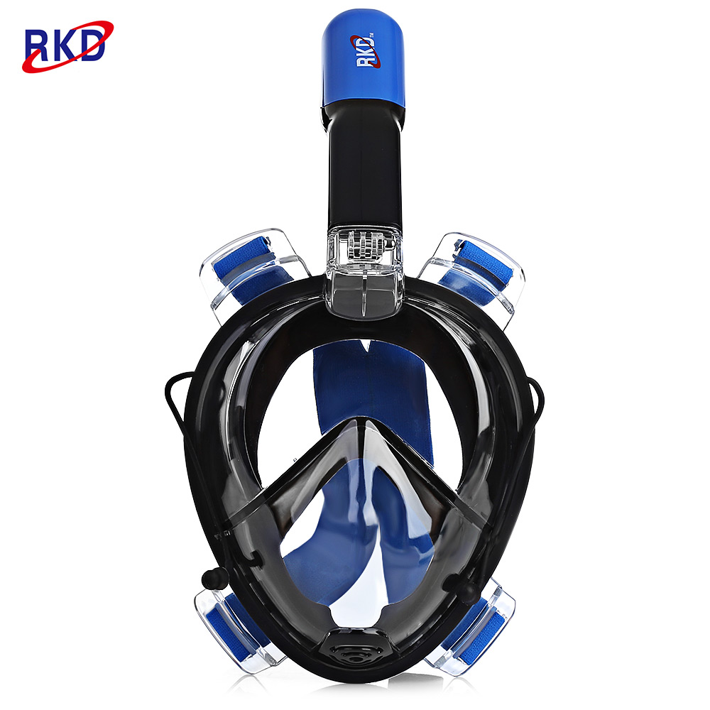 RKD Anti Fog Detachable Swimming Dry Snorkeling Full Face Mask Set by
