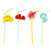 Polyester Hibiscus Flower Plastic Straws - Pack of 12