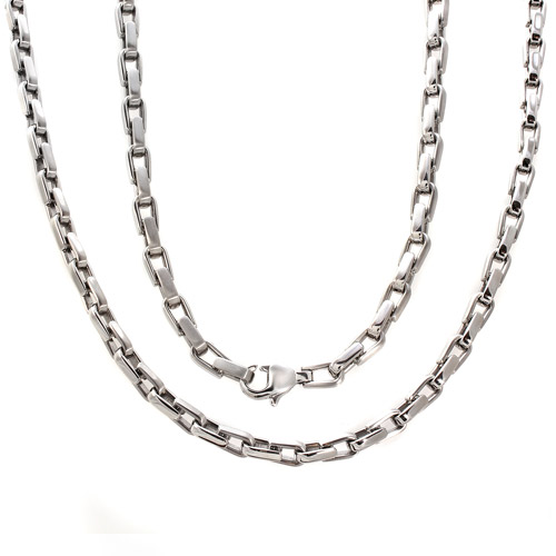 Men's Stainless Steel U-Link Chain, 24""
