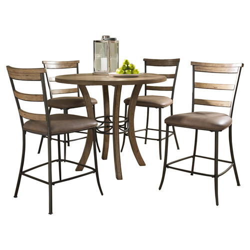 Hillsdale Furniture Charleston 5-Piece Counter Height Round Wood Dining Set with Ladder Back Stool