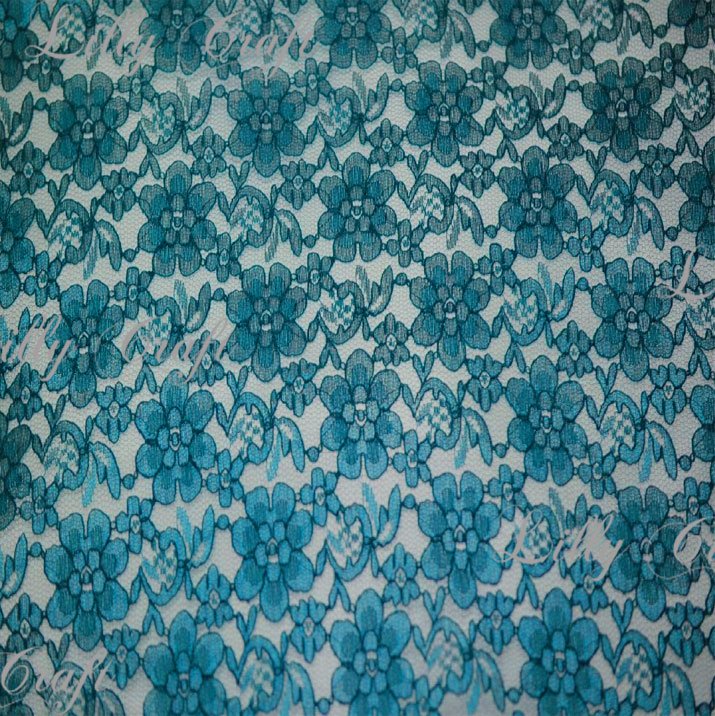 Teal Rachelle Lace 58 Inch Fabric Sold by the Yard