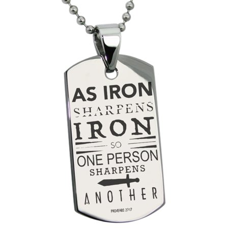 Stainless Steel As Iron Sharpens Iron Proverbs 27:17 Engraved Dog Tag Pendant