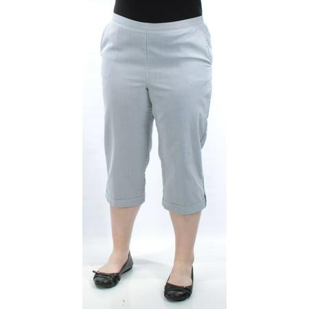 ALFRED DUNNER Womens Gray Pinstripe Straight leg Pants  Size: 18