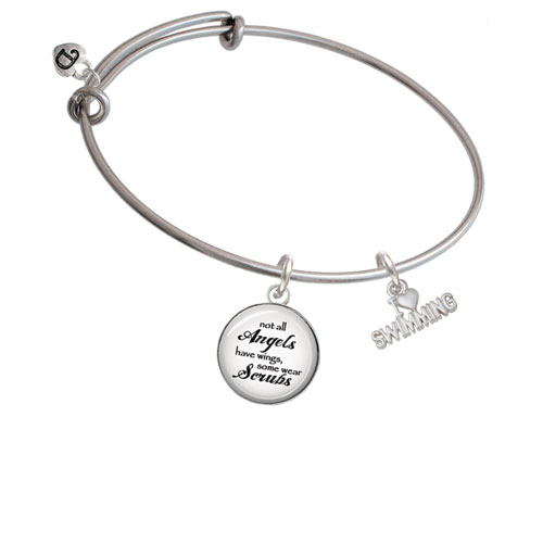 I Heart Swimming Angels Wear Scrubs Bangle Bracelet by Delight and Co.