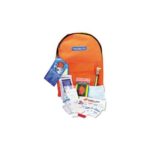 PhysiciansCare Emergency Preparedness Backpack  43 Pieces, Water Packs, Blanket, Poncho, Light Stick, Whistle, Mask, La