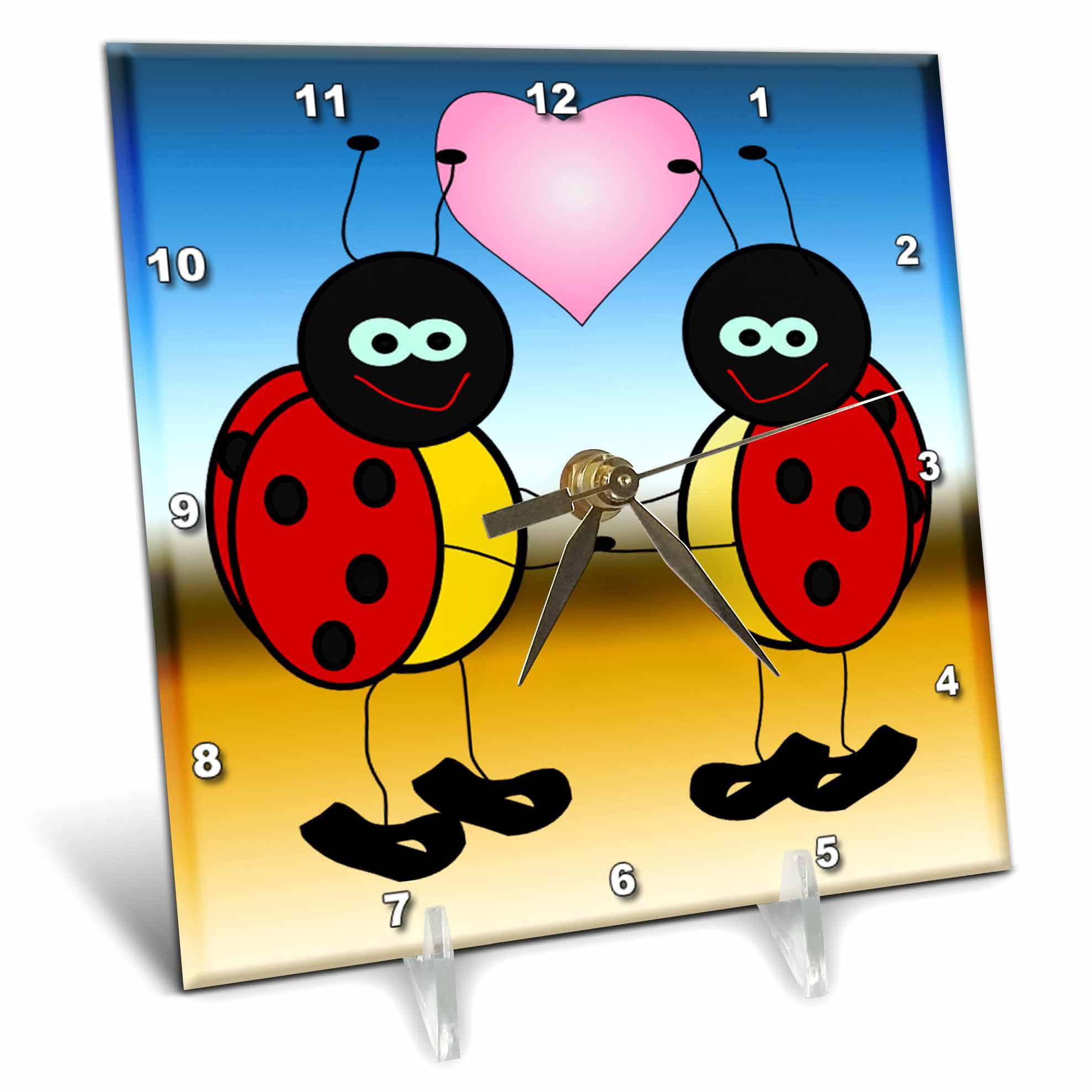 3dRose Lady Bugs in Love Cartoon, Desk Clock, 6 by 6-inch by 3dRose