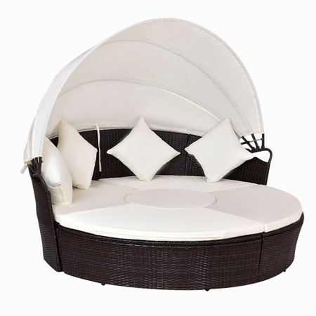 Costway Outdoor Patio Canopy Cushioned Daybed Round Retractable Rattan Furniture Set ()