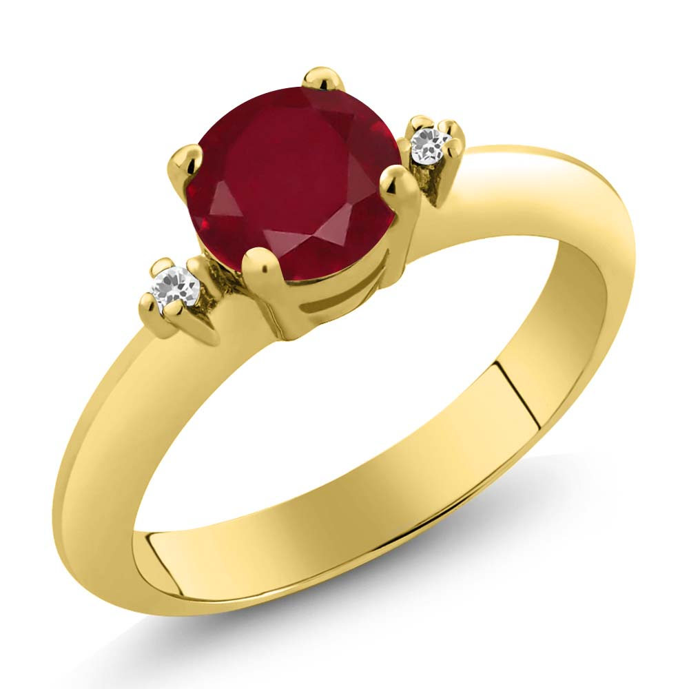 1.07 Ct  Red Ruby White Sapphire 14K Yellow Gold 3-Stone Ring