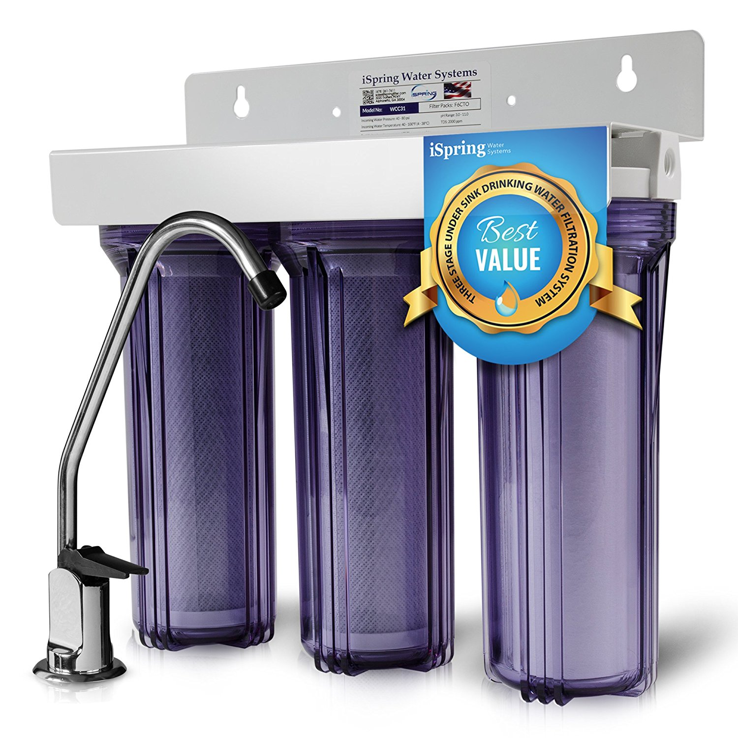 iSpring #WCC31 3-Stage Undercounter Water Filter System