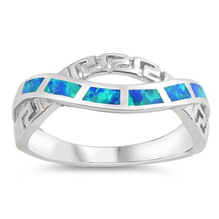 925 Sterling Silver Greek Key - Blue Simulated Opal Infinity Greek Key Knot Ring ( Sizes 5 6 7 8 9 10 ) .925 Sterling Silver Band Rings by Sac Silver (Size 6)