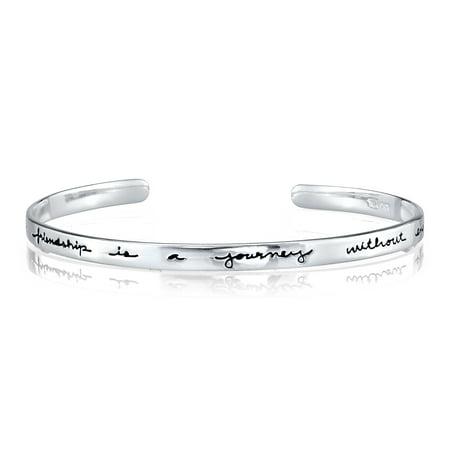 (Sterling Silver True Friendship Cuff Bracelet, 7