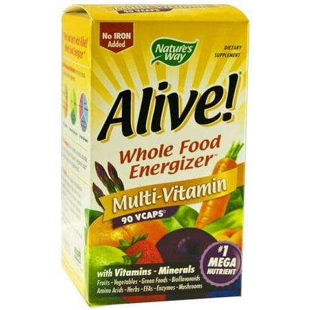 Natures Way Alive Whole Food Energizer Mult Vitamin Capsules  90 Ct