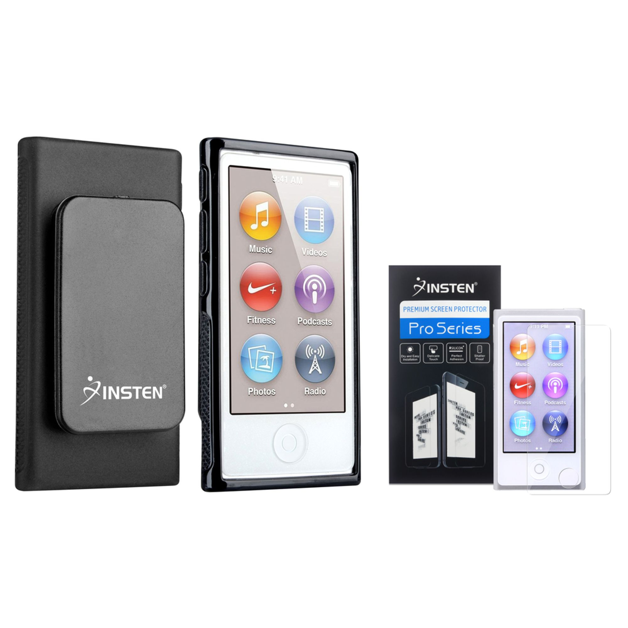 Insten Black TPU Soft Case With Belt Clip+Clear Screen Protector For iPod Nano 7 Gen