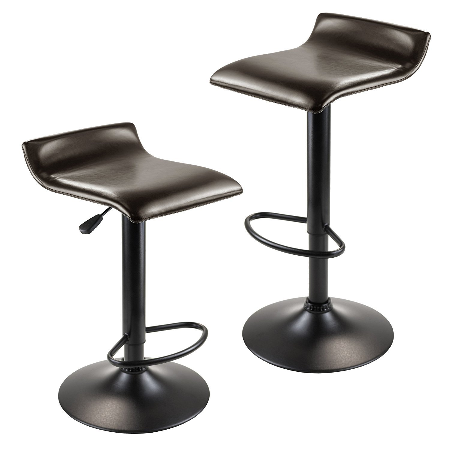Winsome Wood Paris Adjustable Swivel Airlift Stool with PU Leather Seat, Black Metal Base, Set of 2