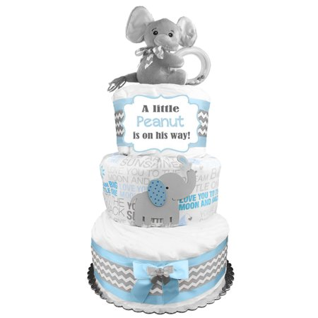 Elephant 3-Tier Diaper Cake for a Boy - Baby Shower Gift - Centerpiece - Blue and Gray - Dipper Cake