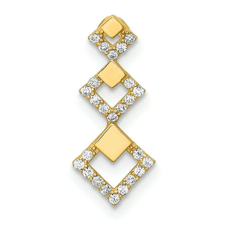 14K Yellow Gold Cubic Zirconia Geometric Tiered Chain Necklace Slide Pendant Geometric Yellow Necklace