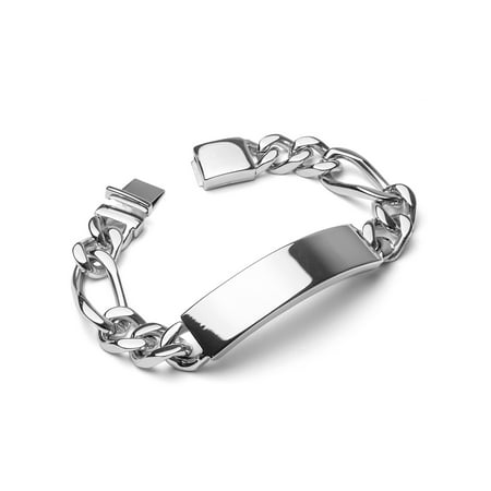 Stainless Steel Clasp Bracelet - Crucible Stainless Steel Engravable ID Bracelet with Box Clasp