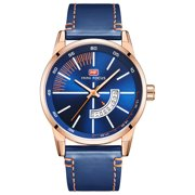 Men's Quartz Analog Wrist Watch Blue&White Dial Casual Blue Faux Leather Band For Men Bussiness Dress with Date