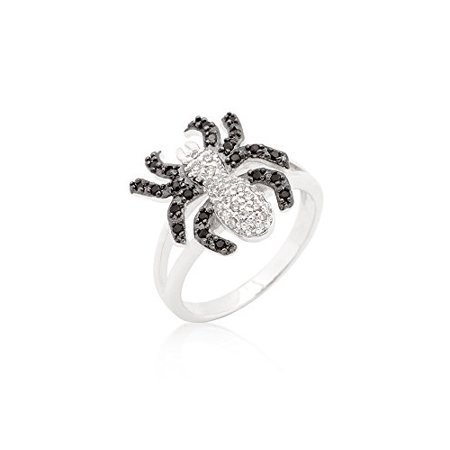 Genuine Rhodium Plated Spider Ring with Jet Black and Clear Cubic Zirconia in Pave Setting Size 5