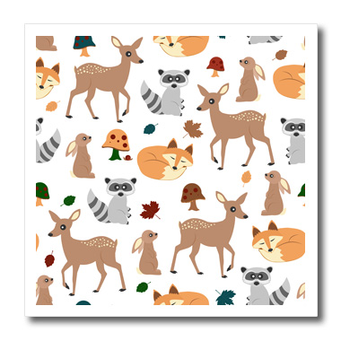 3dRose Woodland Animals Pattern, Fawn Fox Raccoon Rabbit - Quilt Square, 6 by 6-inch