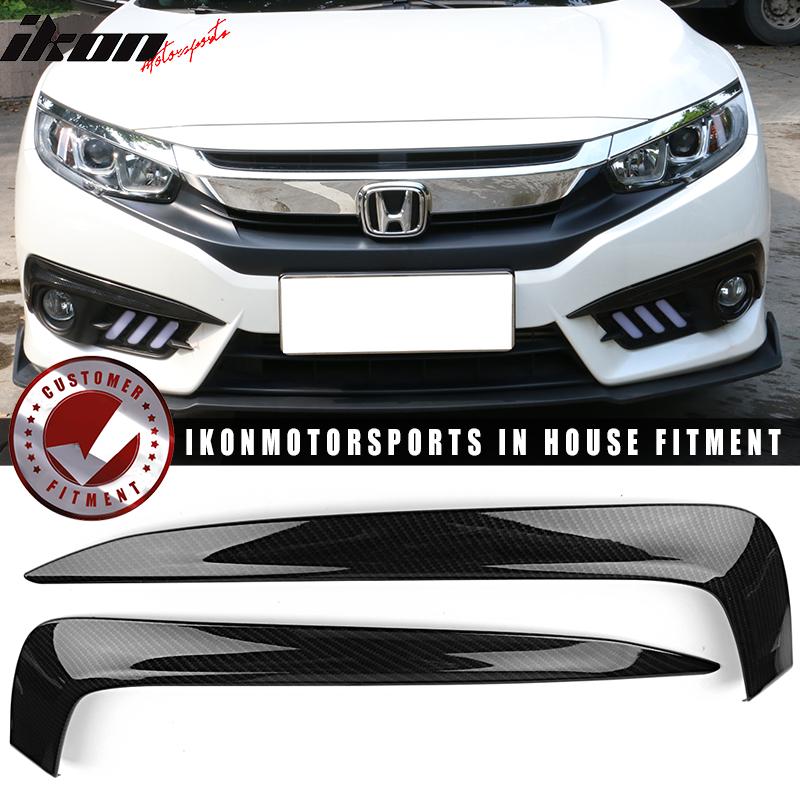 Carbon Fiber Car Front Fog Light Cover Ring Trim For Honda Civic 10th 2016-2021