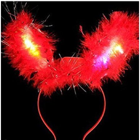8 Pair of 2 LED Light Up Flashing Fluffy Bunny Ears - Various Styles (Light Up Ears)