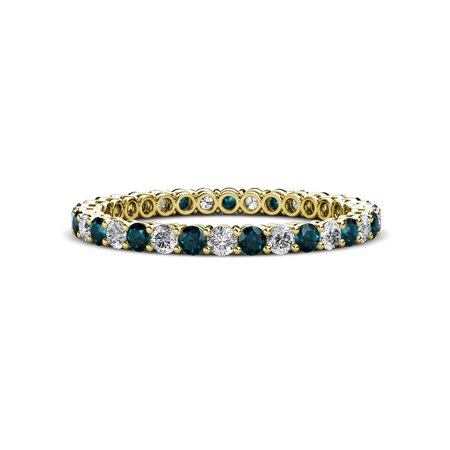 Diamond & London Blue Topaz 0.83-0.97 carat tw Women Stackable Eternity Band in 14K Yellow Gold.size 7.25 Blue Diamond Channel Band