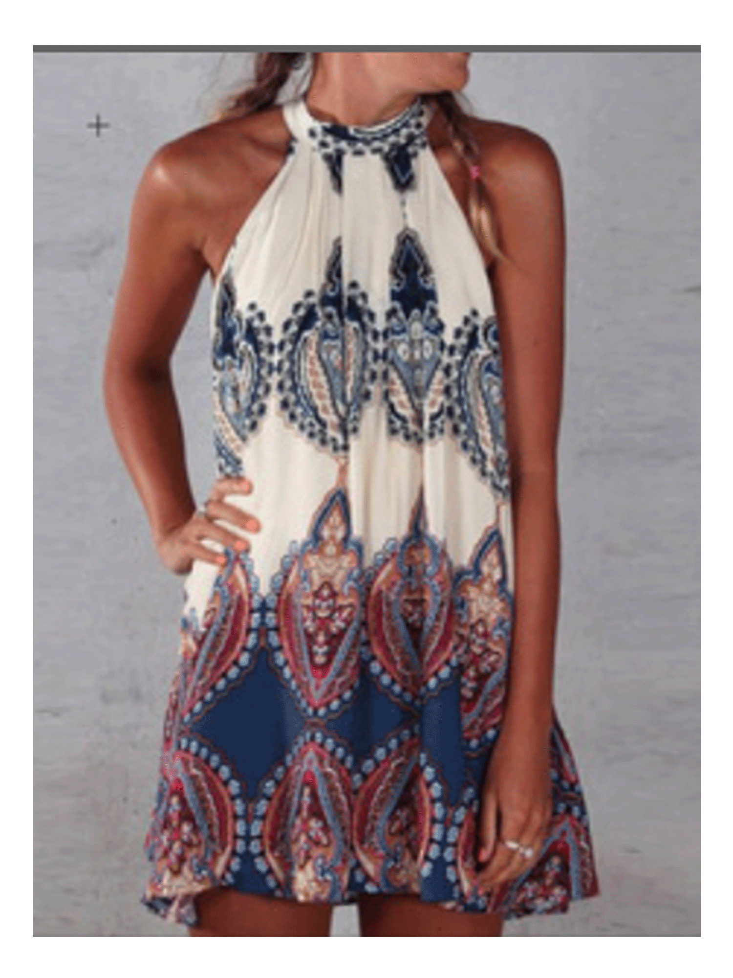 Transer Womens Tank Deep V Neck Dress Sleeveless Boho Print Backless Flowy Maxi Dresses with Pocket