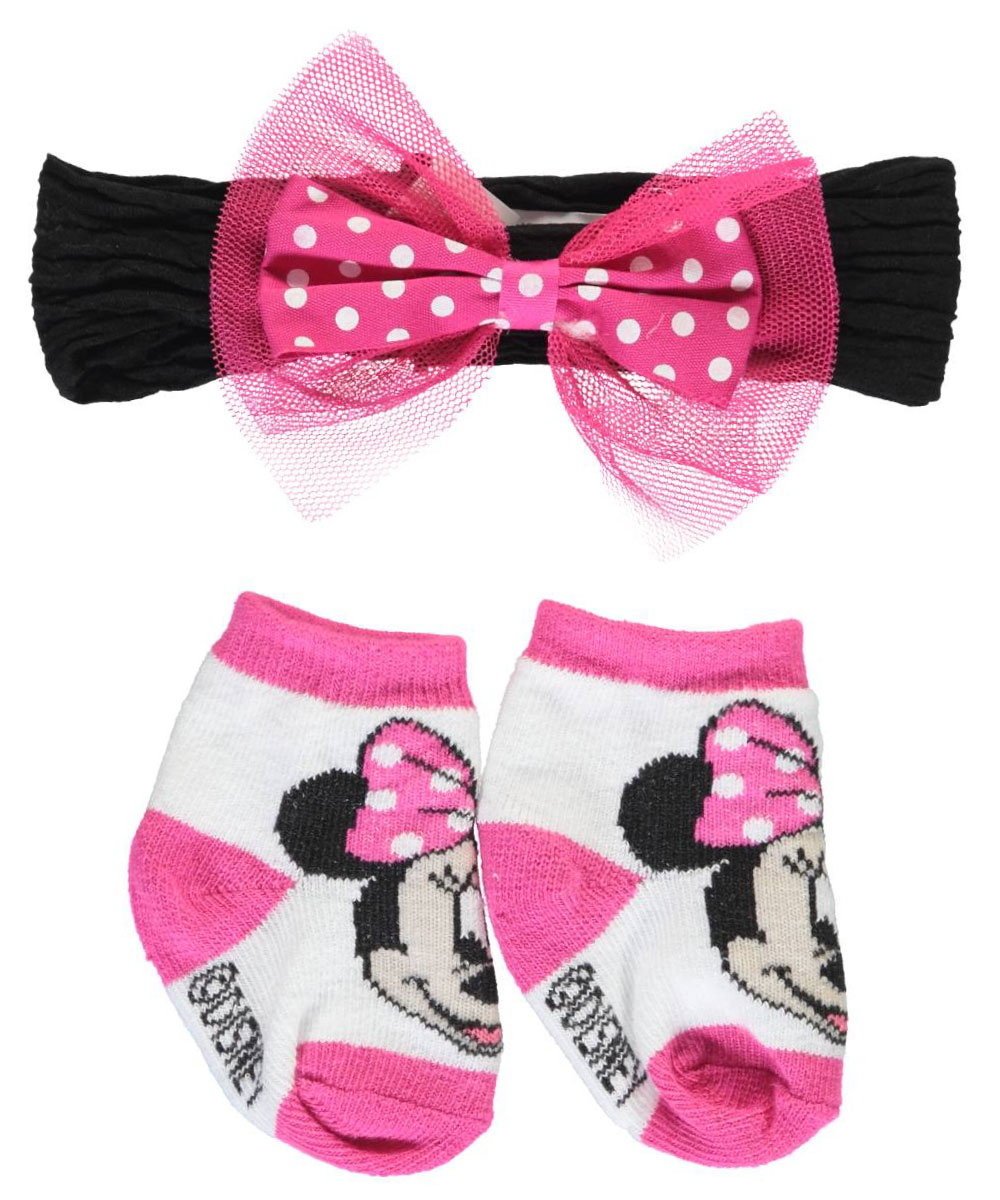 """Disney Minnie Mouse Baby Girls' """"Tulle Cute"""" Headwrap & Booties Set"""