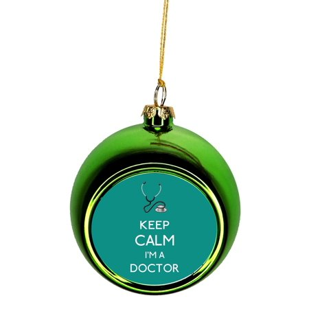 Ornaments Medical Keep Calm I'm a Doctor in Teal Gift Appreciation Bauble Christmas Ornaments Green Bauble Tree Xmas Balls ()