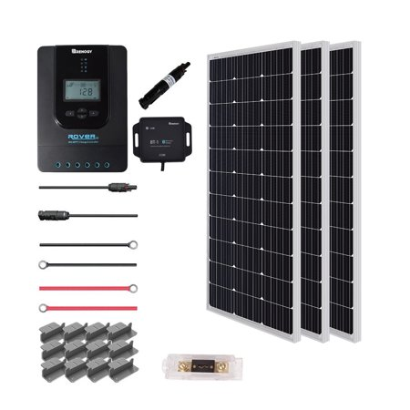 Renogy 300 Watt 12 Volt Off Grid Solar Premium Kit with Monocrystalline Solar Panel and 40A MPPT Rover
