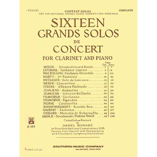 16 Sixteen Grand Solos De Concert: Woodwind Solos & Ensemble/B-flat Clarinet Collection