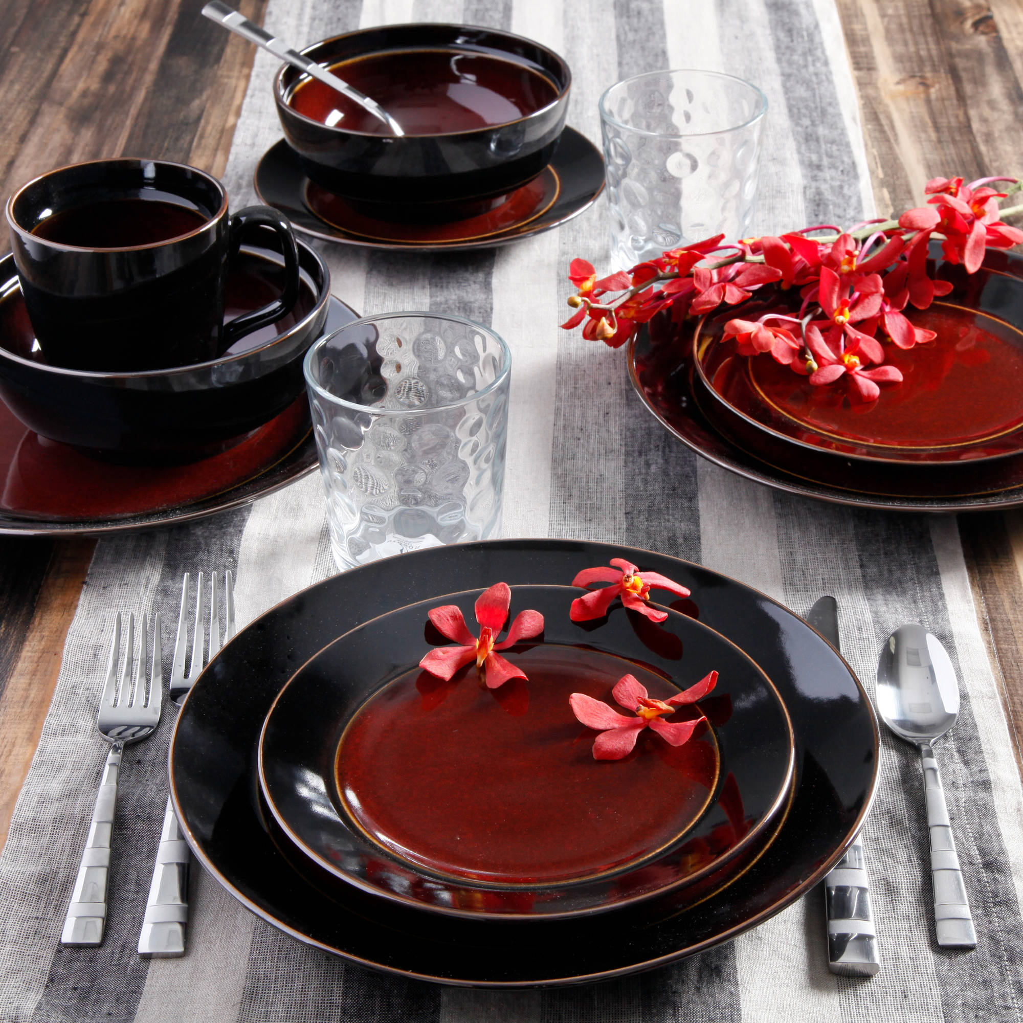 Gibson Studio Villa Mosa 16 Piece Dinnerware Set Round : gibson red and black dinnerware - pezcame.com