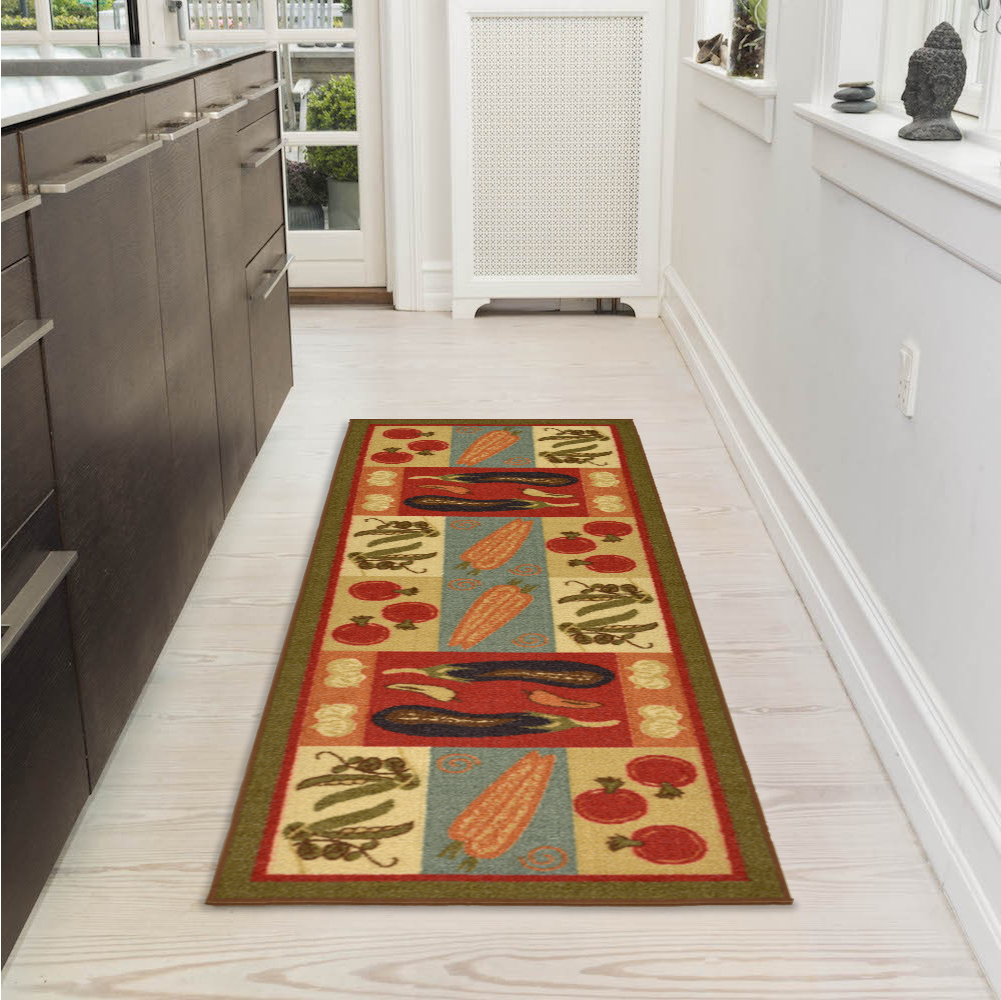 "Ottomanson Sara's Kitchen Vegetables Design Mat Runner Rug with Non-Skid (Non-Slip) Rubber Backing, Dark Olive Green, 20"" X 59"""