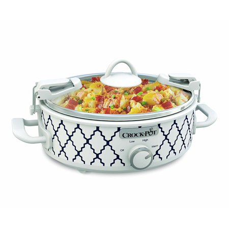 Crock-Pot Casserole Crock 2.5-Quart Oval Slow Cooker, White/Blue Pattern