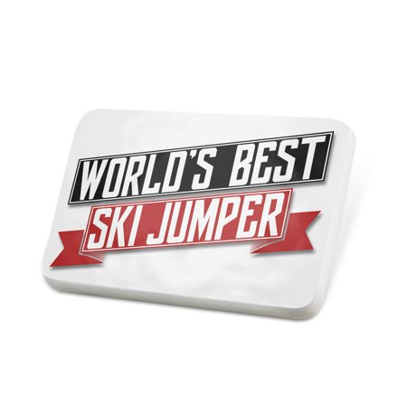 Porcelein Pin Worlds Best Ski Jumper Lapel Badge –
