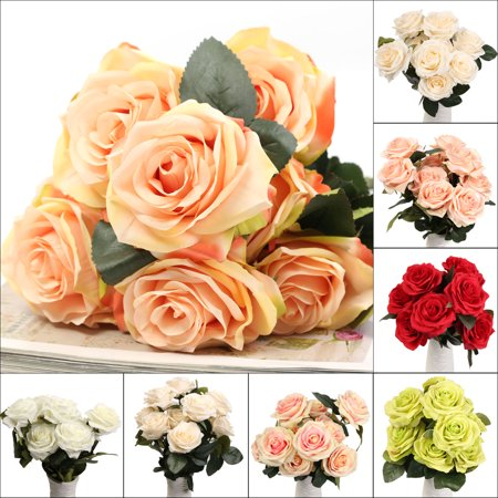 10 Oval Rose (10 Head 1 BouquetAartificial Rose Flower Fake Silk Rose Flower Home Room Wedding Party Decor )