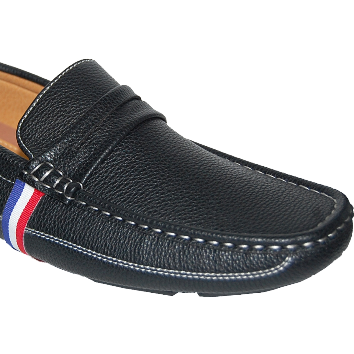 KRAZY SHOE ARTISTS Blue, White And Red Handcrafted Ornament Men's Loafer